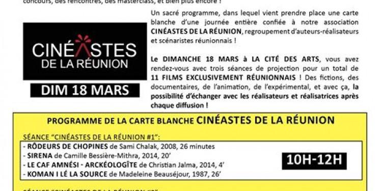 Le programme de la journée Carte Blanche Cinéastes de La Réun...