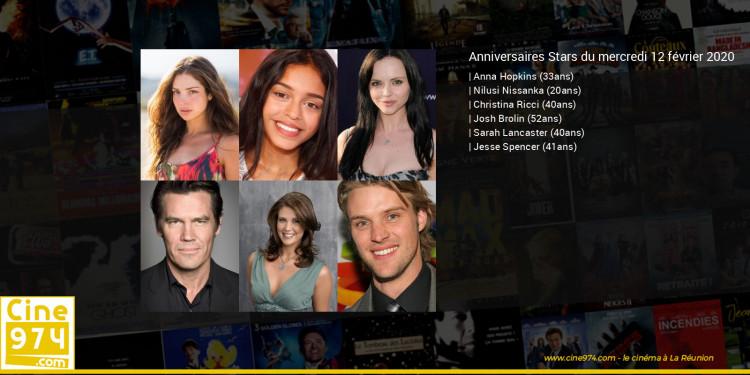 Anniversaires des acteurs du mercredi 12 février 2020