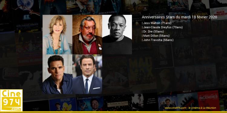 Anniversaires des acteurs du mardi 18 février 2020