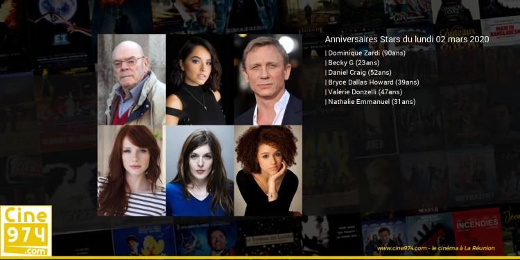Anniversaires des acteurs du lundi 02 mars 2020