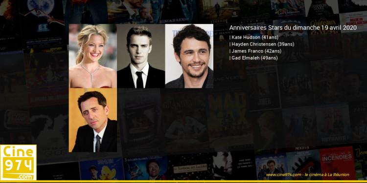 Anniversaires des acteurs du dimanche 19 avril 2020