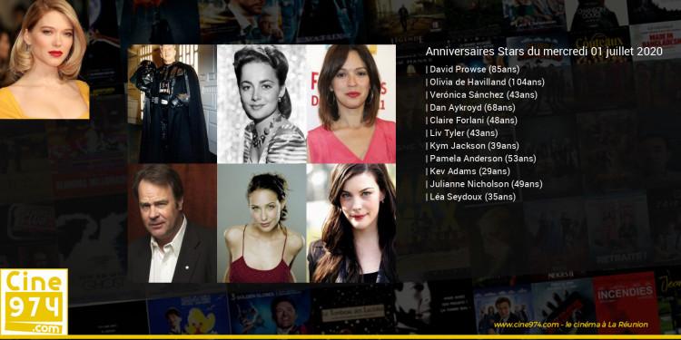 Anniversaires des acteurs du mercredi 01 juillet 2020