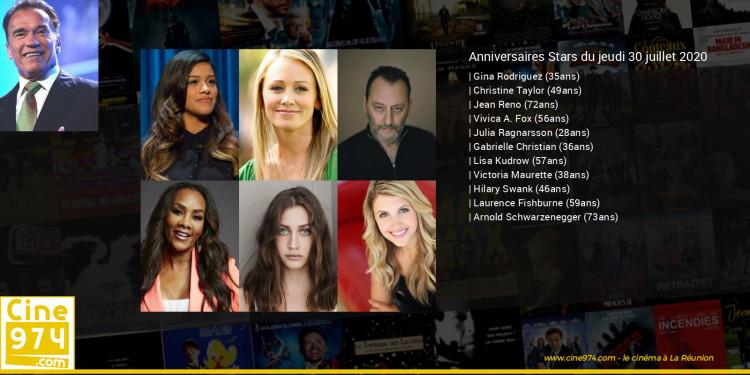 Anniversaires des acteurs du jeudi 30 juillet 2020