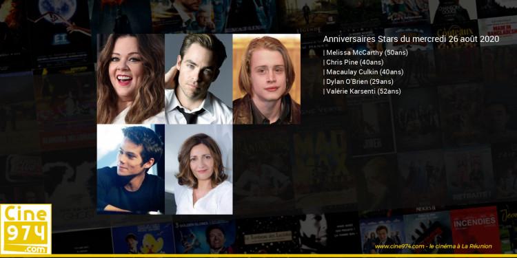 Anniversaires des acteurs du mercredi 26 août 2020