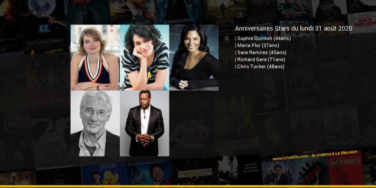 Anniversaires des acteurs du lundi 31 août 2020
