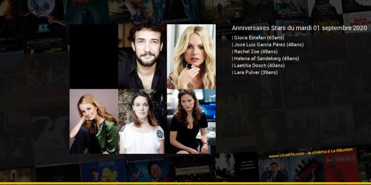 Anniversaires des acteurs du mardi 01 septembre 2020