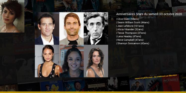 Anniversaires des acteurs du samedi 03 octobre 2020