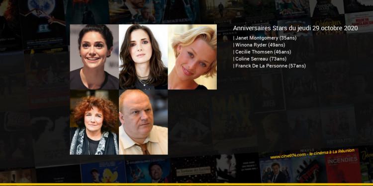 Anniversaires des acteurs du jeudi 29 octobre 2020