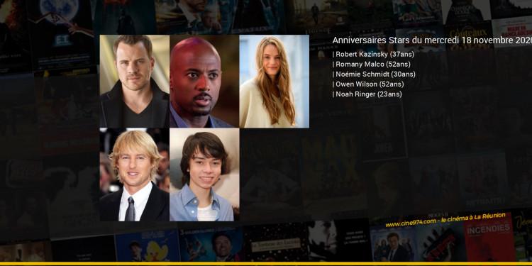 Anniversaires des acteurs du mercredi 18 novembre 2020