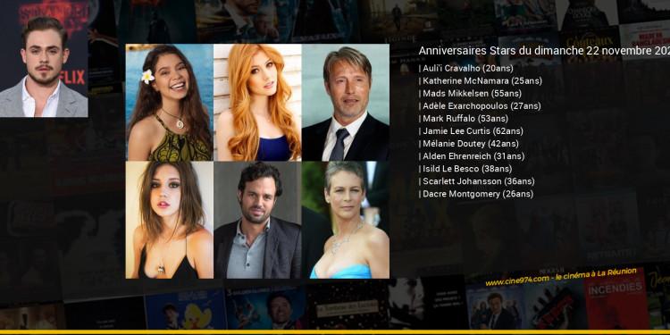 Anniversaires des acteurs du dimanche 22 novembre 2020