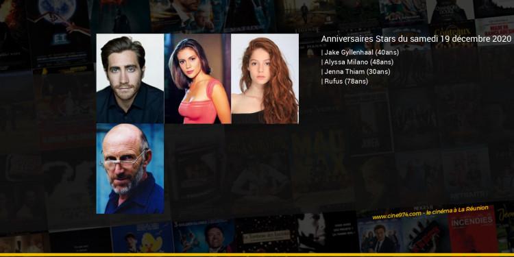 Anniversaires des acteurs du samedi 19 décembre 2020