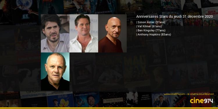 Anniversaires des acteurs du jeudi 31 décembre 2020