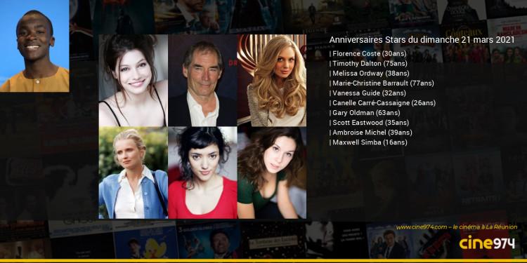 Anniversaires des acteurs du dimanche 21 mars 2021