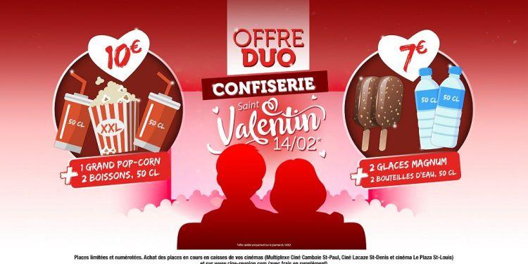 Offre spéciale Saint-Valentin au Multiplexe Ciné Cambaie St-Paul