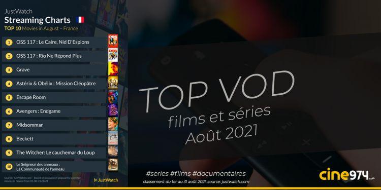 TOP 10 films et séries en VOD en France / août 2021